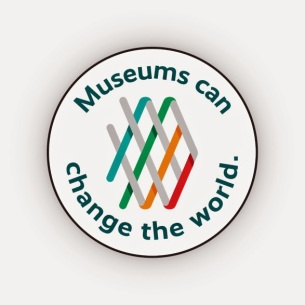 """American Alliance of Museums logo with surrounding words """"Museums can change the world."""""""
