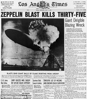 Los Angeles Times front page for May 7, 1937 showing Hindenburg airship tail engulfed in flame after explosion near mooring mast.